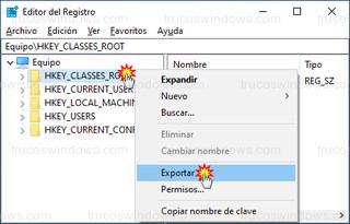 Editor del Registro - Exportar desde la rama