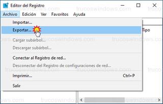 Editor del registro - Exportar...