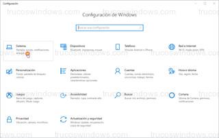Configuración de Windows - Sistema