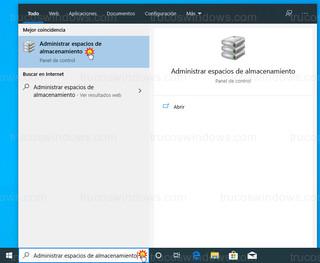 Windows 10 - Administrar espacios de almacenamiento