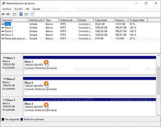Administración de discos - Tres unidades de 1 Tera cada una