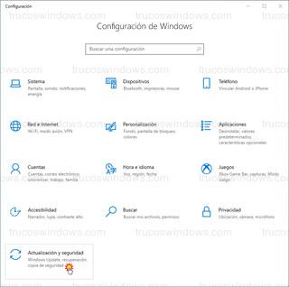Configuración Windows 10 - Actualización y seguridad