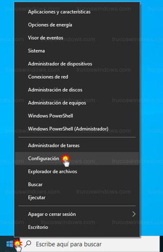 Windows 10 - Menú de inicio - Configuración