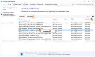 Actualizaciones instaladas - Desinstalar actualización