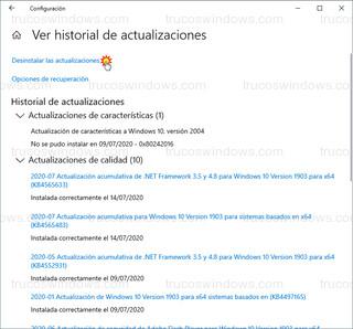 Windows Update - Desinstalar las actualizaciones