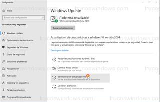 Windows Update - Ver historial de actualizaciones