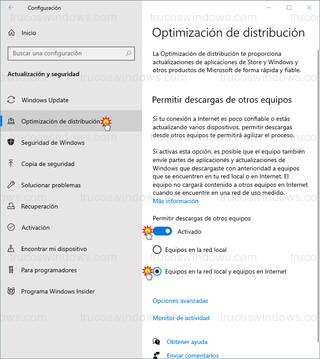 Optimización de distribución - Permitir descargas de otros equipos
