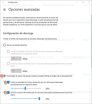 Configuración de descarga - Porcentaje de ancho de banda medido