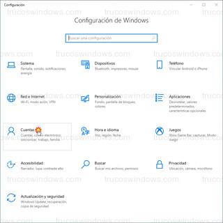 Configuración de Windows - Cuentas