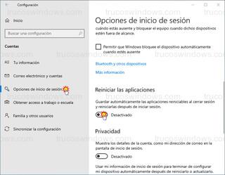 Opciones de inicio de sesión - Reiniciar las aplicaciones - Guardar automáticamente las aplicaciones reiniciables al cerrar sesión y reiniciarlas después de iniciar sesión