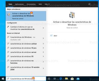 Windows 10 - Activar o desactivar las características de Windows