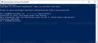 Windows PowerShell - Conversión de WSL 1 a WSL 2