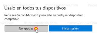 Iniciar sesión con Microsoft - No, gracias