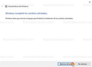 Características de Windows - Reiniciar ahora para finalizar la instalación