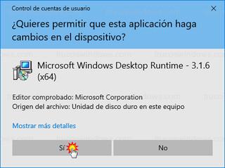 Control de cuentas de usuario - Microsoft Windows Desktop Runtime - 3.1.6 (x64)