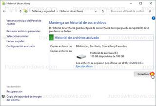 Historial de archivos - Desactivar