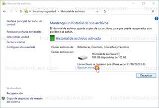 Historial de archivos - Ejecutar ahora
