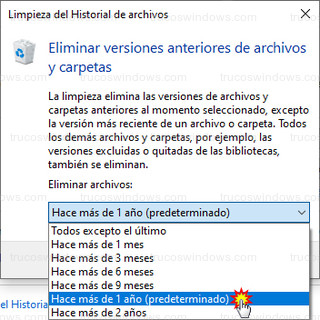 Limpieza del historial de archivos - Eliminar versiones anteriores