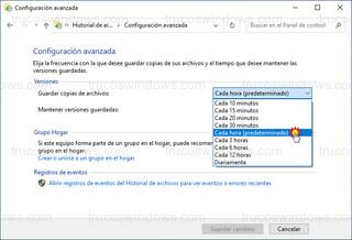 Configuración avanzada - Guardar copias de archivos