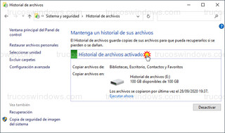 Historial de archivos - Activado