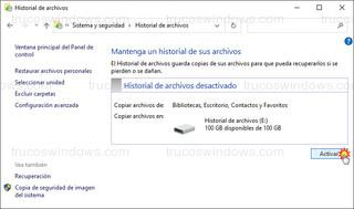 Historial de archivos - Activar