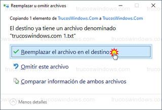 Reemplazar u omitir archivos - Reemplazar el archivo en el destino