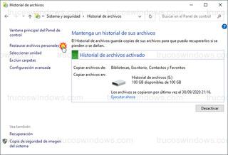 Historial de archivos - Restaurar archivos personales