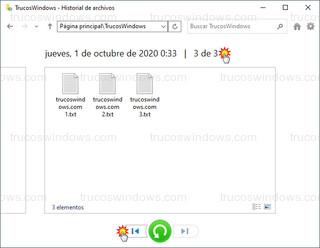 Historial de archivos - Restaurar versiones anteriores