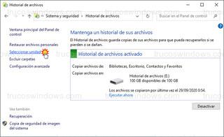 Historial de archivos - Seleccionar unidad