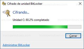 Cifrado de unidad BitLocker - Cifrando... Unidad C: 80.2% completado