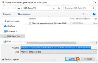 Guardar clave de recuperación de BitLocker como - Clave de recuperación de BitLocker 5C28F87B
