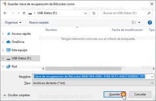 Guardar clave de recuperación de BitLocker como - Clave de recuperación de BitLocker B64E14F6