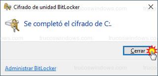 Cifrado de unidad BitLocker - Se completó el cifrado de C: