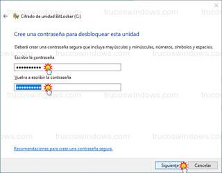 Cifrado de unidad BitLocker - Contraseña para desbloquear esta unidad