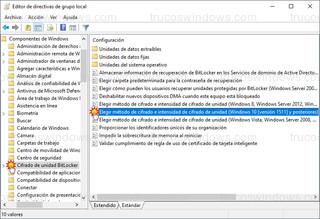 Editor de directivas de grupo local - Elegir método de cifrado e intensidad de cifrado de unidad