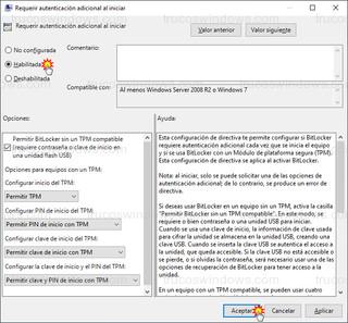 Requerir autenticación adicional al iniciar - Habilitada, permitir BitLocker sin un TPM compatible