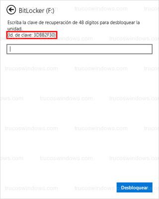 BitLocker - Id. de clave: 3DBB2F30