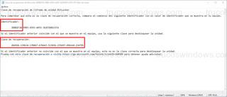 Clave de recuperación de BitLocker - Identificador y Clave de recuperación