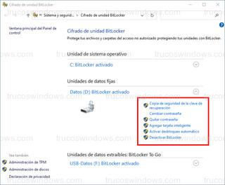 Cifrado de unidad BitLocker - Opciones de la unidad