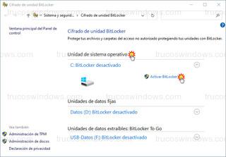 Cifrado de unidad BitLocker - Unidad de sistema operativo - Activar BitLocker