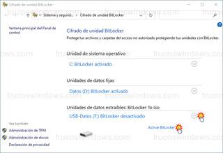 Cifrado de unidad BitLocker - Unidades de datos extraíbles: BitLocker To Go - Activar BitLocker