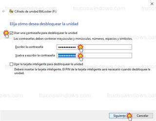 Cifrado de unidad BitLocker - Usar una contraseña para desbloquear la unidad F: