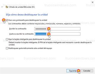 Cifrado de unidad BitLocker - Usar una contraseña para desbloquear la unidad