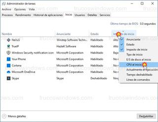 Administrador de tareas - Activar CPU al inicio