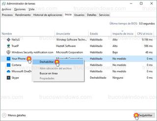 Administrador de tareas - Deshabilitar aplicación