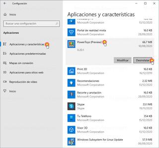 Configuración - Aplicaciones y características