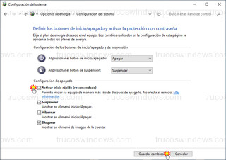 Configuración del sistema - Activar inicio rápido (recomendado)