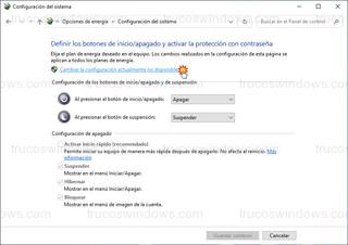 Configuración del sistema - Cambiar la configuración actualmente no disponible