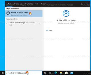 Windows 10 - Activar el Modo Juego