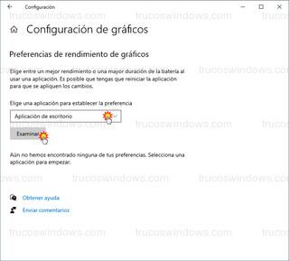 Configuración de gráficos - Aplicación de escritorio